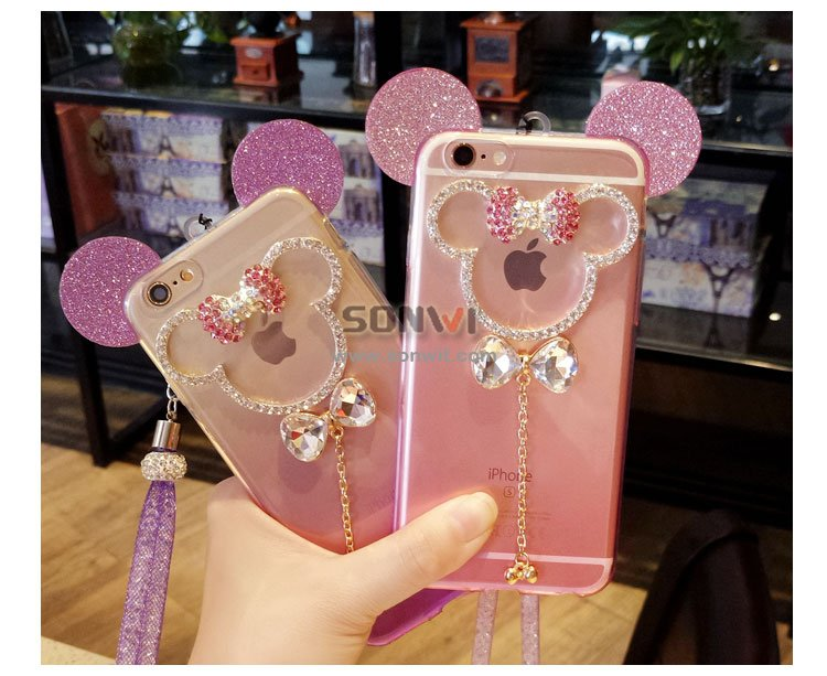 Mickey Rhinestones Shinning Phone Case with Lanyard for iphone