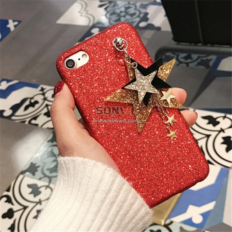 Flash Powder Phone Case with Pendant for iphone 6/6s